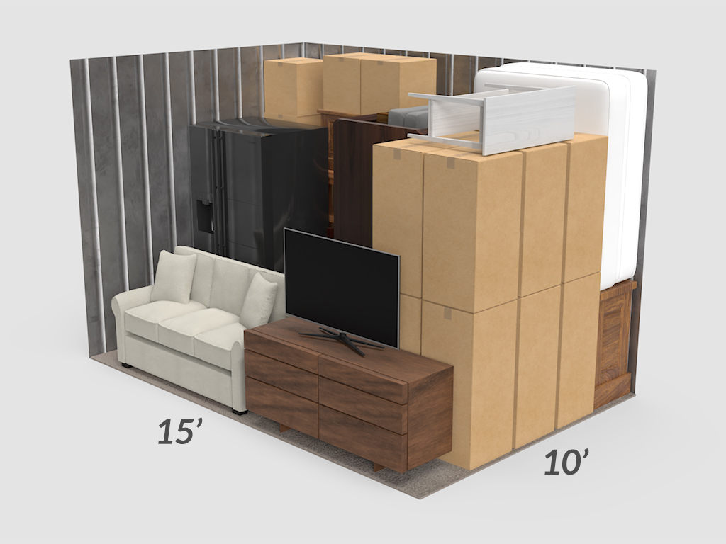 3D rendering of 15 foot by 10 foot storage unit