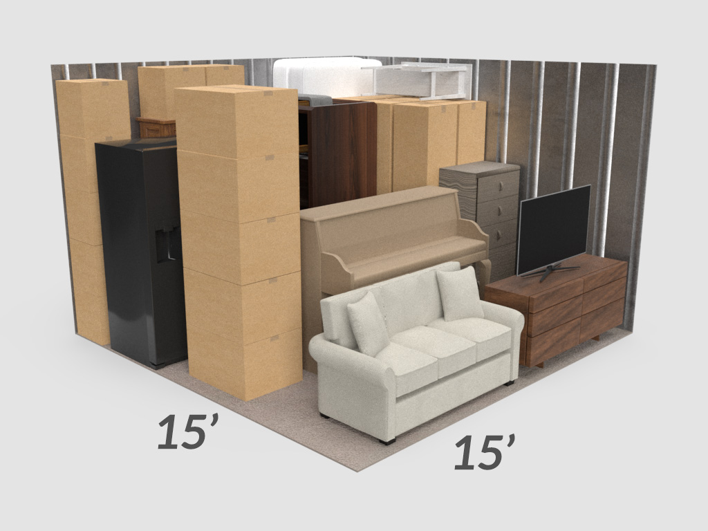 A 3d rendering showing the amount of storage in a 15' by 15' unit